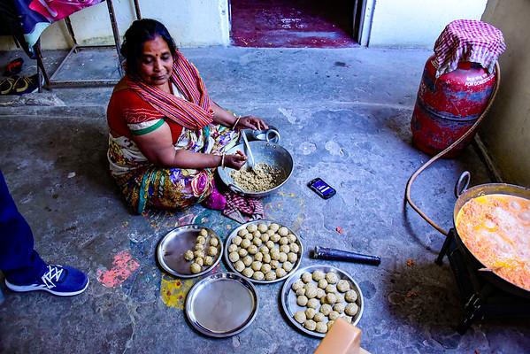 Manush's Aunt preparing Celebration food