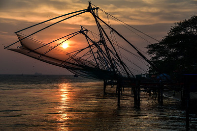 Cochin - the French fishing nets at sunset