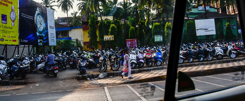 Goa - can't believe how many motorcycles are in India, your basic parking lot