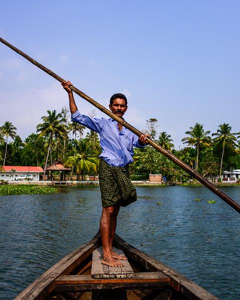 Kumarakom - our trusty boatman at Philipkutty Farms