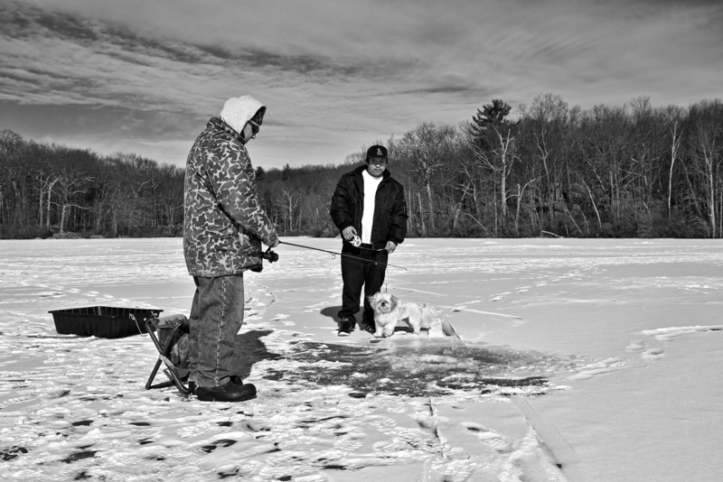 Ice Fishing with Rod and Reel