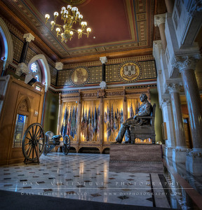 The Hall of Flags in the State Capitol.