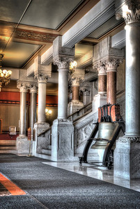 Entrance staircase and Liberty Bell in the State Capitol.