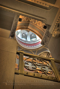 Looking up at the Rotunda in the State Capitol.