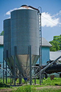 A view of the grain hoppers/silos. The workers in charge of feeding the cows bring a trailer along side and load up with grain to be dispensed at the feeding areas.