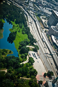 The southern pond at the Jefferson Nation Expansion Memorial as seen from atop the St. Louis Arch.
