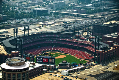 A closer view of Busch Stadium from atop the St. Louis Arch.