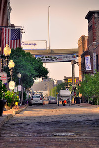Northbound view of N. 1st St. in the Laclede's Landing Historic Riverfront District.