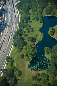 The northern pond at the Jefferson Nation Expansion Memorial as seen from atop the St. Louis Arch.