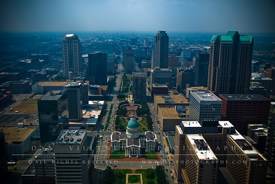 Downtown St. Louis with the Old Court House at the center as seen from atop the St. Louis Arch.