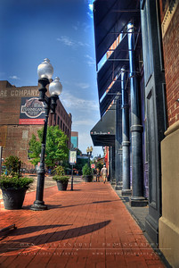 Northbound view of N. 2nd St. in the Laclede's Landing Historic Riverfront District.