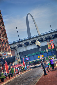 Southbound view of N. 2nd St. in the Laclede's Landing Historic Riverfront District.