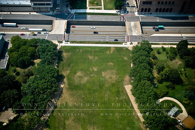 The park at the Jefferson Nation Expansion Memorial as seen from atop the St. Louis Arch.