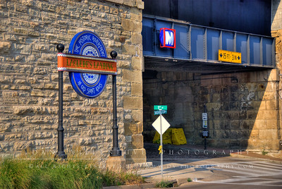 One of the entrances to Laclede's Landing Historic Riverfront District through the Eads Bridge foundation.