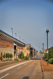 Looking down Washington Ave. towards the Mississippi River. To the left is the Eads Bridge.