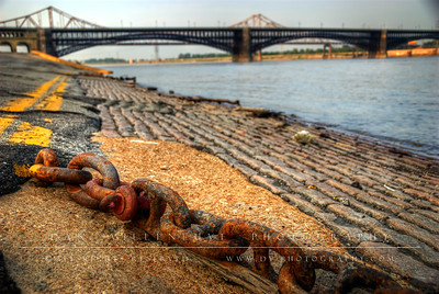 Mooring chains along the Mississippi River.