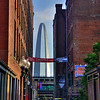 Looking down the alley outside of the Old Spaghetti Company provides a dramatic frame of the Arch.