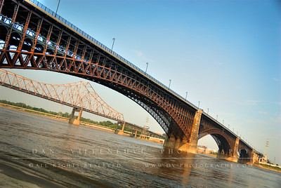 Eads Bridge and the Mississippi River with the Martin Luther King Bridge in the background.