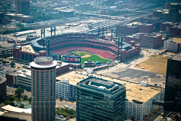 A nice view of Busch Stadium, the Millennium Hotel and the Drury Plaza Hotel from atop the St. Louis Arch.