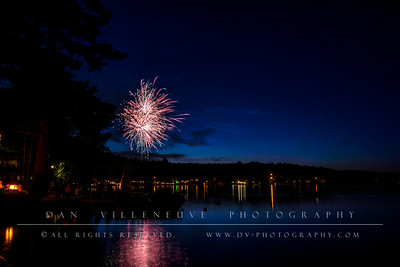 Fourth of July fireworks on Crystal Lake, CT.