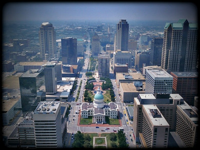 View of downtown St. Louis from the Arch's westward observation window.  Little Photo