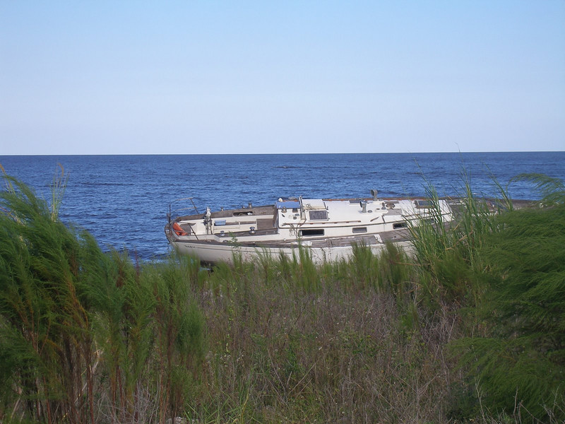 Marooned Boat in Lake Okeechobee <br /> PHOTO by Ron Talas