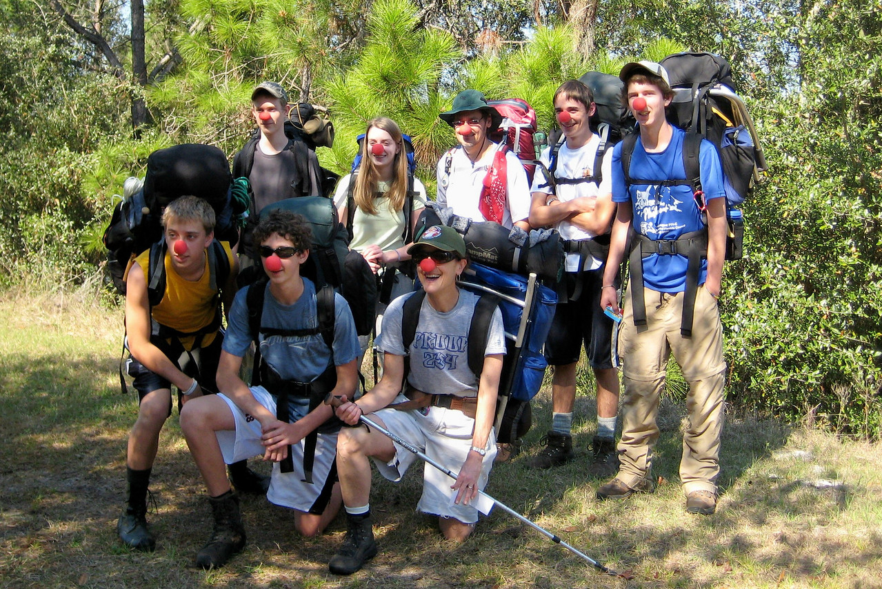 Nose fun with Scouts on the Florida Trail<br /> Photo by Donna Stowe