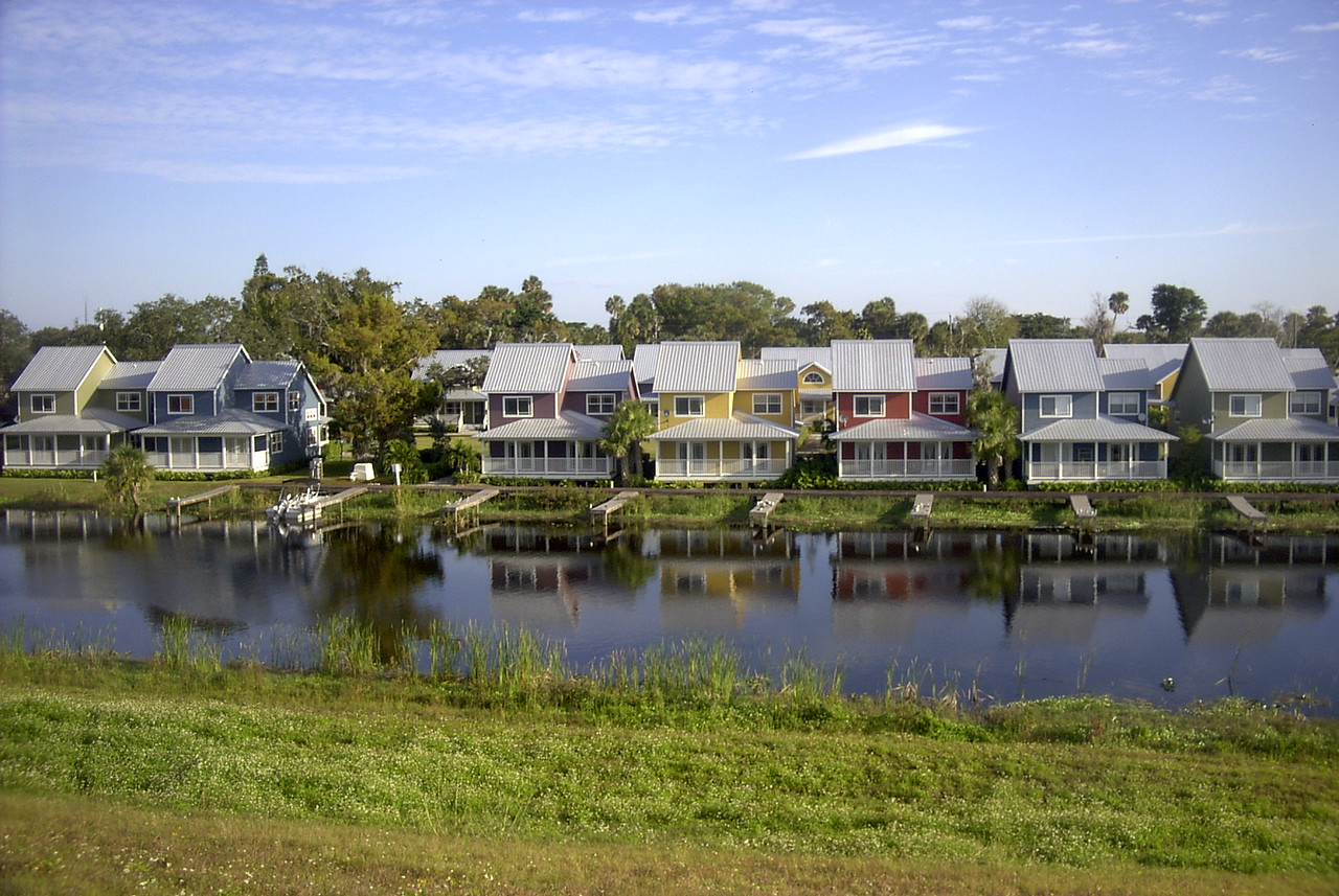 Colorful Condos line the shore at Taylor Creek<br /> Photo by Charles Auer