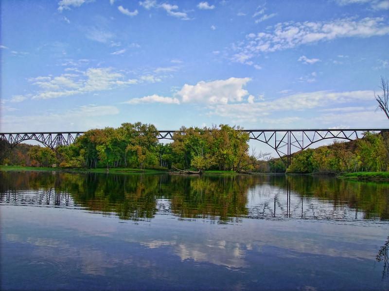 High bridge in early fall