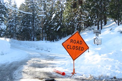 January 28, 2017 - West end of Donner, California - Donner Road is Closed