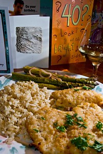 May 3, 2008; Day 1. Today I turned 40. The entree is haddock with a little butter and Parmesan cheese. It was magnificent. There were no sympathy cards. The one in front with the sliver of bark came from one of my most artistic friends.