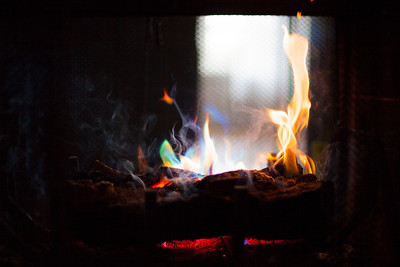 Love snowy days with colorful fires.