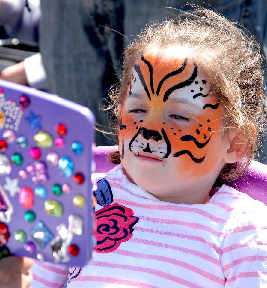 Peabody Mass.  April 23 2017; touch a truck. Five year old Alison Fox admires her face painting. BOB ROCHE