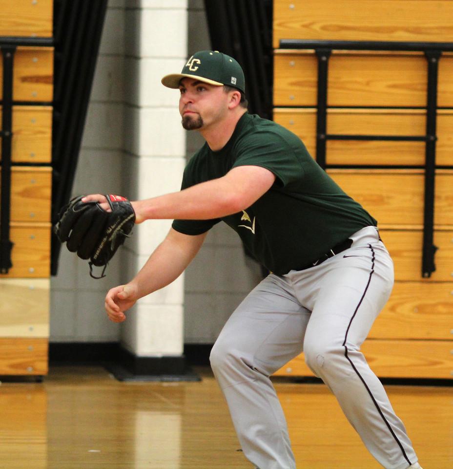Lynn, Ma. 4-25-17. Andrew Moccia during baseball practice at Lynn Classical High School.