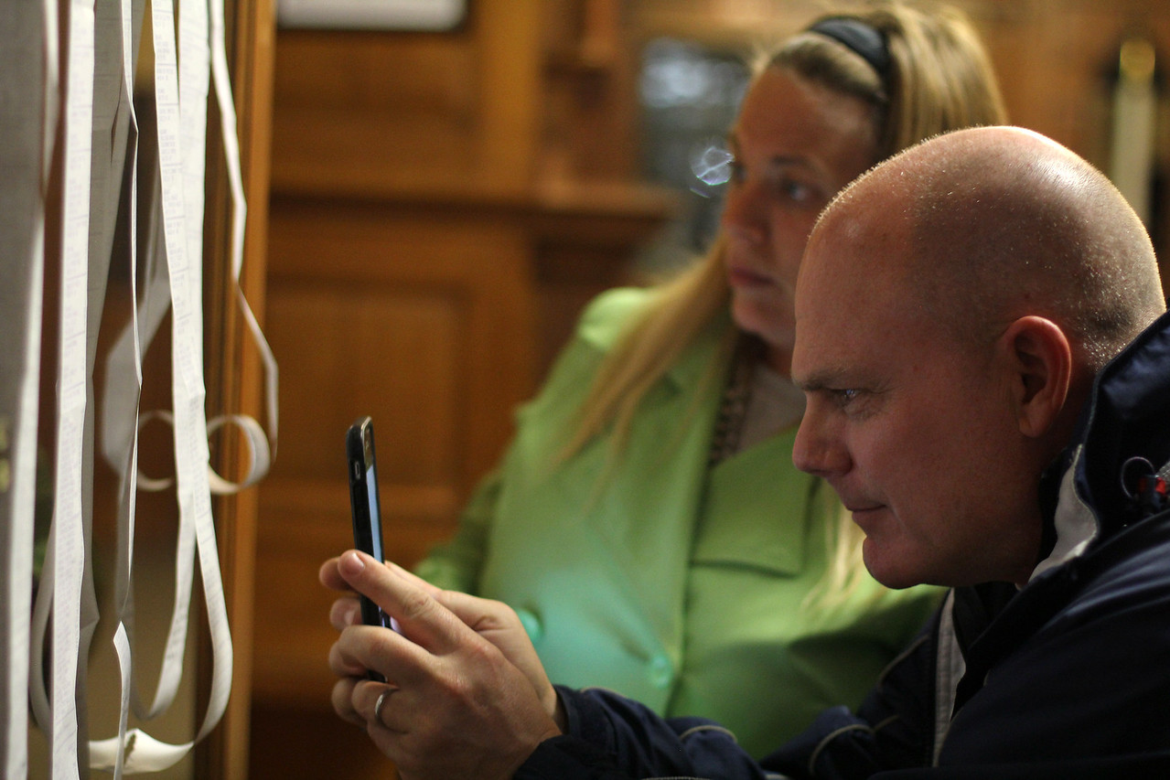 Swampscott, Ma. 4-25-17. Michael McClung photographs the election results at Swampmpscott Town Hall. Michael won as Town Moderator in an uncontested race and Laura Spathanas won a seat as selcman in an uncontested race.