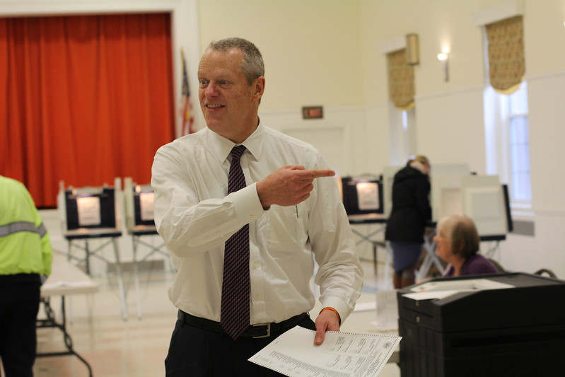 Swampscott, Ma. 4-25-17. Governor Charlie Baker voting at the First Church Congregational in Swampscott this afternoon.