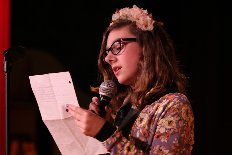 Saugus, Ma. 4-26-17. Ruby Mower an 8th grader at the Belmonte Middle School in Saugus was the first poet to compete in this year's poetry slam.