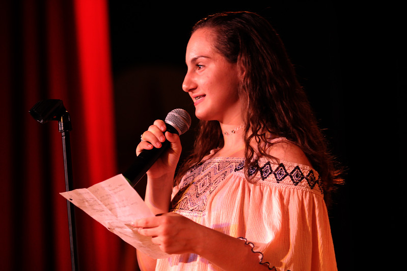 Saugus, Ma. 4-26-17. Amanda Pires, an 8th graders at teh Belmonte Middle School competing in this year's poetry slam.