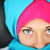 Fashion blue and pink hijab