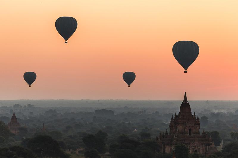 Hot air balloon over landscape of Bagan, Myanmar.