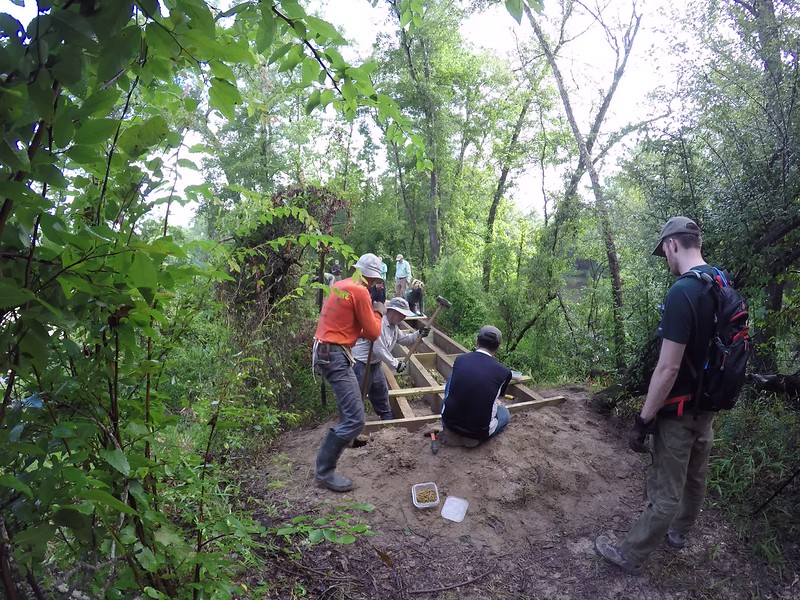 Time lapse video of the final construction phase of Kayney's Crossing on the Spring Creek Nature Trail. The volunteer trail crew has built over 20 bridges along the trail.