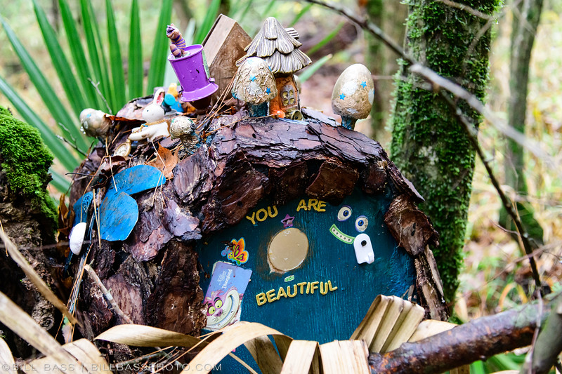 Got Hobbits? No, this is just a geocache along the Spring Creek Nature Trail. Someone has been rather creative.