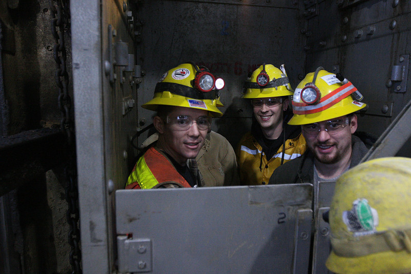 Miners take the ride down to their working level at the Galena Mine, in Wallace, Idaho on Wednesday January 4, 2012. (Young Kwak Special to the Pacific Northwest Inlander)