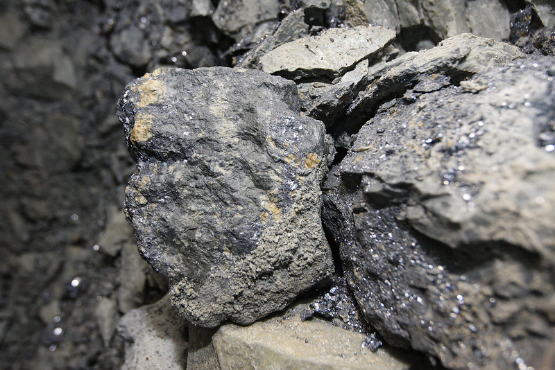 A piece of lead silver is photographed at the 2400 foot level the Galena Mine, in Wallace, Idaho on Wednesday January 4, 2012. The shiny gray parts are lead and the dull gray parts are sliver. (Young Kwak Special to the Pacific Northwest Inlander)