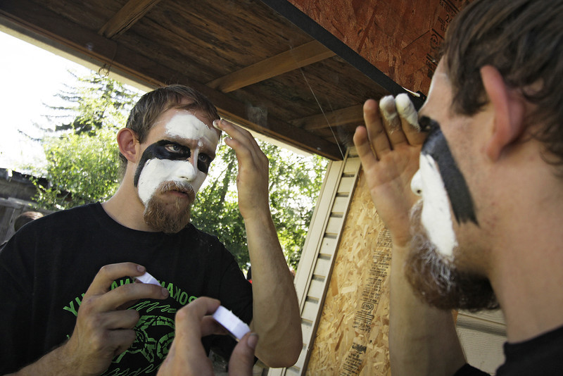 "Steven ""Killer"" Jenkins puts on make up before Spokane Anarchy Wrestling's Wrestle Rave 4 at a private residence in Spokane, Wash. on Saturday, June 26, 2010. (Young Kwak Special to the Pacific Northwest Inlander)"