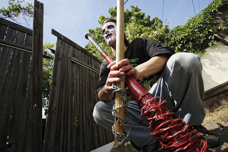 "Gary ""Zilla"" McKay holds a couple of barb wired bats before Spokane Anarchy Wrestling's Wrestle Rave 4 at a private residence in Spokane, Wash. on Saturday, June 26, 2010. (Young Kwak Special to the Pacific Northwest Inlander)"