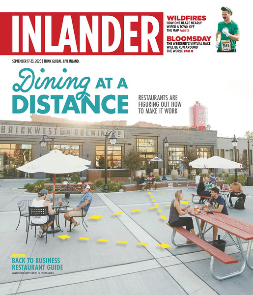 Issue date: Sept. 17, 2020. Art Director: Derek Harrison. Photographer: Young Kwak. Customers sit at tables at Brick West Brewing Co.'s extended patio area at Fireman's Park in Spokane, Wash., Tuesday, Sept. 1, 2020.<br /> <br /> Photo used for @theinlander's back to business sponsored content about what restaurants are doing to survive the COVID-19 pandemic.