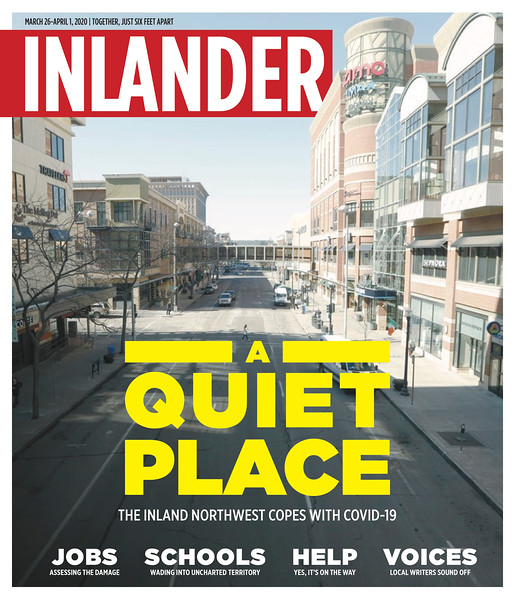 Issue date: March 26, 2020. Art Director: Derek Harrison. Photographer: Young Kwak. The view west is photographed from a skywalk on W. Main Ave. in downtown Spokane, Wash., Wednesday, March 18, 2020.<br /> <br /> Cover photo for the Inlander's COVID-19 pandemic issue.