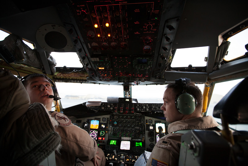USAF Pilot Captain Joe D'Agostino, left, and Co-Pilot 1st Lieutenant Jacob Mueller conduct a pre-flight check on a KC-135, at Fairchild Air Force Base, in Spokane County, Wash., on Tuesday, Dec. 10, 2013. (Young Kwak/The Pacific Northwest Inlander)
