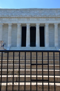 The steps of the Lincoln Memorial are usually occupied by tourists, residents, and joggers.